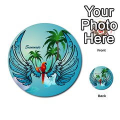 Summer Design With Cute Parrot And Palms Multi Purpose Cards (round)