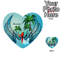 Summer Design With Cute Parrot And Palms Multi Purpose Cards (heart)