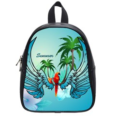Summer Design With Cute Parrot And Palms School Bags (Small)