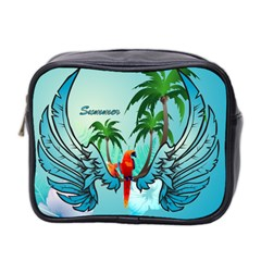 Summer Design With Cute Parrot And Palms Mini Toiletries Bag 2-Side