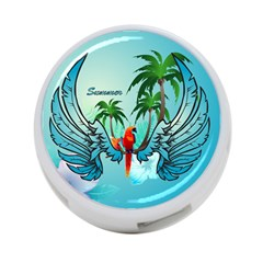 Summer Design With Cute Parrot And Palms 4-Port USB Hub (One Side)