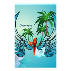 Summer Design With Cute Parrot And Palms Shower Curtain 48  X 72  (small)