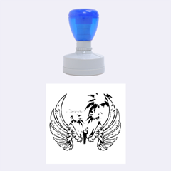 Summer Design With Cute Parrot And Palms Rubber Round Stamps (medium)