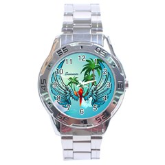 Summer Design With Cute Parrot And Palms Stainless Steel Men s Watch