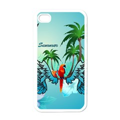 Summer Design With Cute Parrot And Palms Apple Iphone 4 Case (white)
