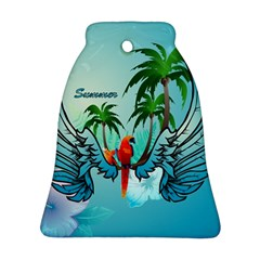 Summer Design With Cute Parrot And Palms Ornament (bell)