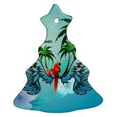 Summer Design With Cute Parrot And Palms Christmas Tree Ornament (2 Sides)