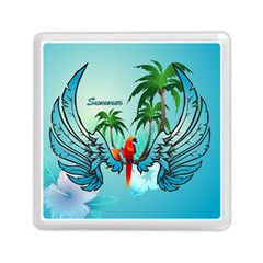 Summer Design With Cute Parrot And Palms Memory Card Reader (Square)