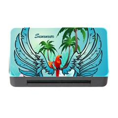 Summer Design With Cute Parrot And Palms Memory Card Reader With Cf
