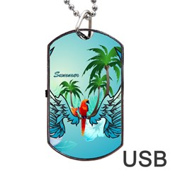 Summer Design With Cute Parrot And Palms Dog Tag USB Flash (One Side)