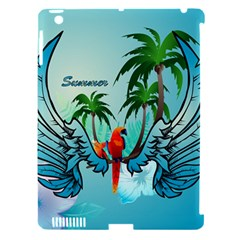 Summer Design With Cute Parrot And Palms Apple iPad 3/4 Hardshell Case (Compatible with Smart Cover)