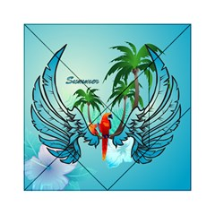 Summer Design With Cute Parrot And Palms Acrylic Tangram Puzzle (6  X 6 )