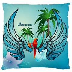 Summer Design With Cute Parrot And Palms Large Cushion Cases (Two Sides)