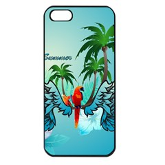Summer Design With Cute Parrot And Palms Apple iPhone 5 Seamless Case (Black)