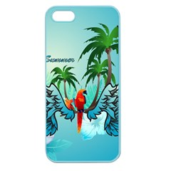 Summer Design With Cute Parrot And Palms Apple Seamless Iphone 5 Case (color)