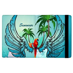Summer Design With Cute Parrot And Palms Apple Ipad 2 Flip Case