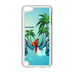 Summer Design With Cute Parrot And Palms Apple iPod Touch 5 Case (White)