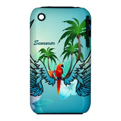 Summer Design With Cute Parrot And Palms Apple Iphone 3g/3gs Hardshell Case (pc+silicone)