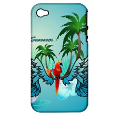 Summer Design With Cute Parrot And Palms Apple iPhone 4/4S Hardshell Case (PC+Silicone)