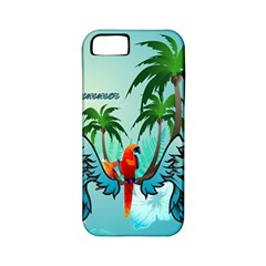 Summer Design With Cute Parrot And Palms Apple Iphone 5 Classic Hardshell Case (pc+silicone)
