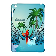 Summer Design With Cute Parrot And Palms Apple iPad Mini Hardshell Case (Compatible with Smart Cover)