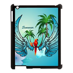 Summer Design With Cute Parrot And Palms Apple iPad 3/4 Case (Black)