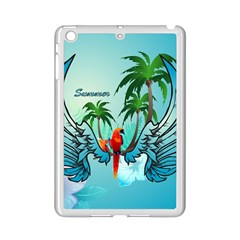 Summer Design With Cute Parrot And Palms Ipad Mini 2 Enamel Coated Cases