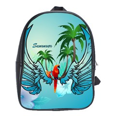 Summer Design With Cute Parrot And Palms School Bags (XL)