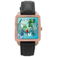 Summer Design With Cute Parrot And Palms Rose Gold Watches