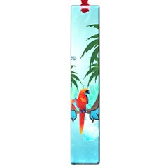 Summer Design With Cute Parrot And Palms Large Book Marks