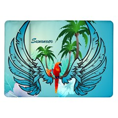 Summer Design With Cute Parrot And Palms Samsung Galaxy Tab 10 1  P7500 Flip Case
