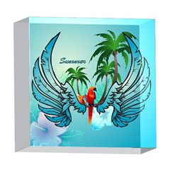 Summer Design With Cute Parrot And Palms 5  x 5  Acrylic Photo Blocks
