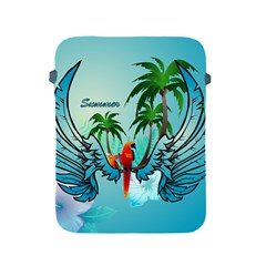Summer Design With Cute Parrot And Palms Apple iPad 2/3/4 Protective Soft Cases
