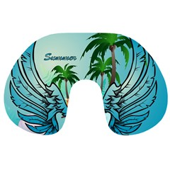 Summer Design With Cute Parrot And Palms Travel Neck Pillows