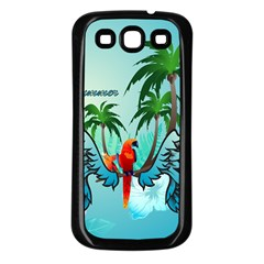 Summer Design With Cute Parrot And Palms Samsung Galaxy S3 Back Case (black)