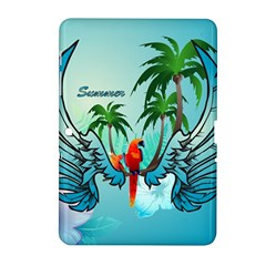 Summer Design With Cute Parrot And Palms Samsung Galaxy Tab 2 (10.1 ) P5100 Hardshell Case