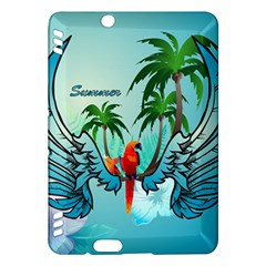 Summer Design With Cute Parrot And Palms Kindle Fire HDX Hardshell Case