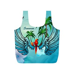 Summer Design With Cute Parrot And Palms Full Print Recycle Bags (s)