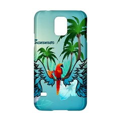 Summer Design With Cute Parrot And Palms Samsung Galaxy S5 Hardshell Case