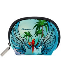 Summer Design With Cute Parrot And Palms Accessory Pouches (Small)