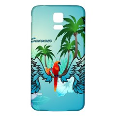 Summer Design With Cute Parrot And Palms Samsung Galaxy S5 Back Case (White)
