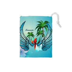 Summer Design With Cute Parrot And Palms Drawstring Pouches (small)