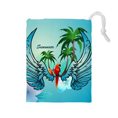 Summer Design With Cute Parrot And Palms Drawstring Pouches (Large)