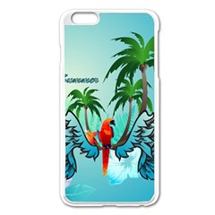 Summer Design With Cute Parrot And Palms Apple Iphone 6 Plus/6s Plus Enamel White Case