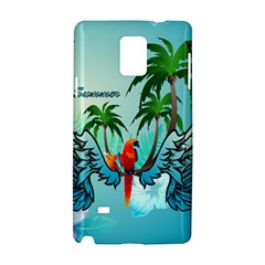 Summer Design With Cute Parrot And Palms Samsung Galaxy Note 4 Hardshell Case