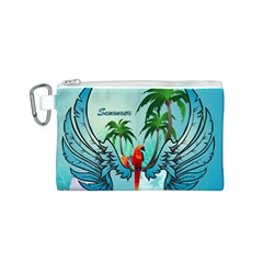 Summer Design With Cute Parrot And Palms Canvas Cosmetic Bag (S)