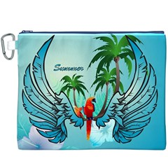 Summer Design With Cute Parrot And Palms Canvas Cosmetic Bag (XXXL)
