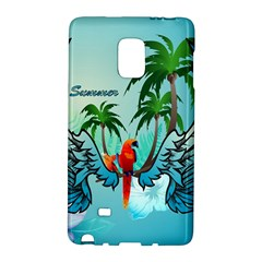 Summer Design With Cute Parrot And Palms Galaxy Note Edge