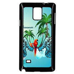 Summer Design With Cute Parrot And Palms Samsung Galaxy Note 4 Case (black)