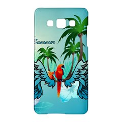 Summer Design With Cute Parrot And Palms Samsung Galaxy A5 Hardshell Case